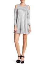 Bobeau Ribbed Long Sleeve Cold Shoulder Dress (Petite)