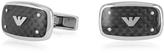 Emporio Armani Stainless Steel and Carbon Fiber Signature Men's Cufflinks