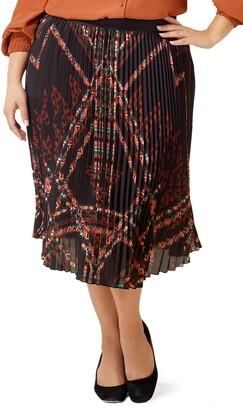Marée Pour Toi Pleated Geo Print Chiffon Skirt