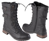 Boots Women's Journee Collection Buckle Detail Combat Assorted Colors