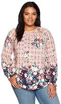 Lucky Brand Women's Plus Size Braided Knit Top