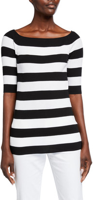 Lafayette 148 New York Wide Bateau-Neck Striped Cotton Crepe Yarn Sweater