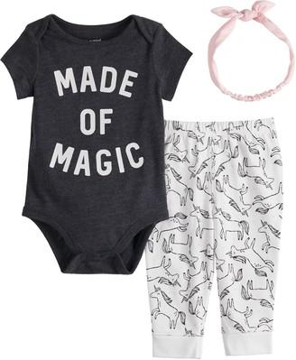 Baby Girl Jumping Beans Graphic Bodysuit, Leggings & Headband Set