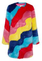 Mira Mikati Rainbow Wave Striped Faux Fur Coat - Bright pink