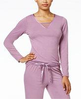 Alfani Satin-Trimmed V-Neck Pajama Top, Only at Macy's