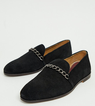 House Of Hounds Wide Fit Cerbus chain loafers in black