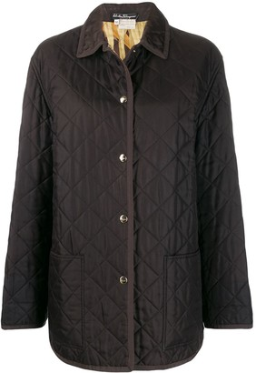 Salvatore Ferragamo Pre Owned 1990s Diamond Quilted Snap Coat