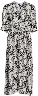 See by Chloe Her Floral-Print Stretch-Silk A-Line Midi Dress