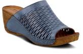 Spring Step Slip-On Leather Wedge Sandals - Cunacena
