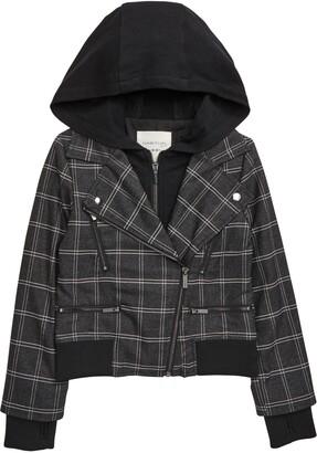 Habitual Lyla Plaid Hooded Moto Jacket