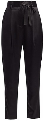 Mason by Michelle Mason Crop Silk Paperbag Trousers