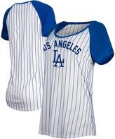New Era Los Angeles Dodgers Women's Cooperstown Pinstripe Raglan T-Shirt - White/Royal