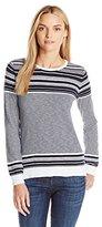 Vince Women's Sweater Graphic Stripe Cotton Slub Crew