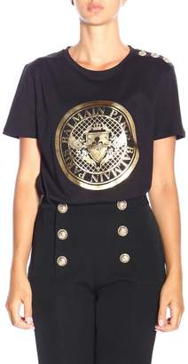 Balmain T-shirt Crew-neck T-shirt With Maxi Crest And Jewel Buttons