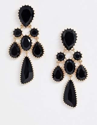 Asos Design DESIGN earrings with black jewel drop in gold tone