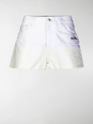 Off-White Dipped Hem Denim Shorts