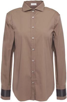 Brunello Cucinelli Satin-trimmed Bead-embellished Cotton-blend Poplin Shirt
