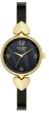 Kate Spade Women's Hollis Gold-Tone Stainless Steel & Black Enamel Bangle Bracelet Watch 30mm