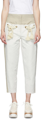 Stella McCartney Off-White and White Cropped Amanda Trousers