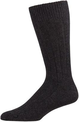 Marcoliani Milano Men's Ribbed Cashmere Dress Socks