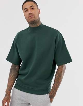 Asos Design DESIGN short sleeve oversized turtleneck sweatshirt in dark green