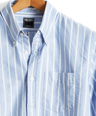 Todd Snyder Bold Stripe Oxford Shirt in Light Blue