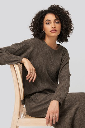 NA-KD Creased Effect Round Neck Top Black