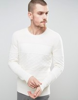 Selected Knitted Sweater with Tonal Pattern in 100% Cotton
