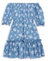Un Deux Trois Girl's Chambray Floral Peasant Dress