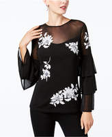 INC International Concepts I.n.c. Petite Embroidered Tiered-Sleeve Top, Created for Macy's
