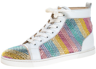 Christian Louboutin White Crystal Embellished Suede Leather Louis High Top Sneakers Size 37