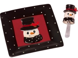 Precious Moments Snow Much Fun Snowman Cheese Plate And Spreader
