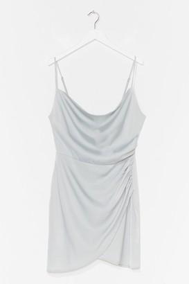 Nasty Gal Womens Cowl Sweet It is Satin Mini Dress - Pale Blue