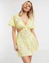 Asos DESIGN twist front broderie mini beach sundress in soft yellow