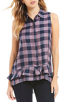 Daniel Cremieux Shawn Sleeveless Plaid Ruffle Hem Blouse