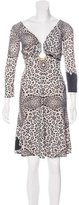 Roberto Cavalli Embellished Leopard Dress
