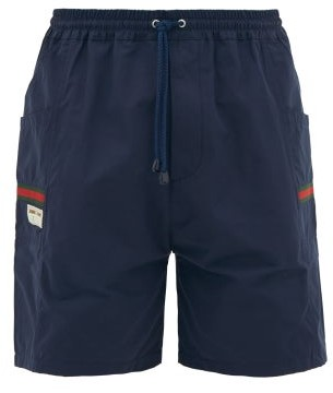 Gucci Web-stripe Pockets Technical Drawcord Shorts - Navy