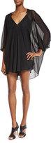 Diane von Furstenberg Fleurette Silk Mini Dress, Black