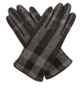 Burberry House-check wool and leather gloves