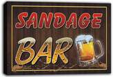 AdvPro Canvas scw3-027555 SANDAGE Name Home Bar Pub Beer Mugs Stretched Canvas Print Sign