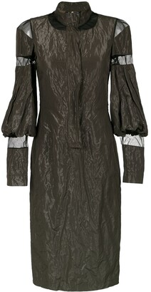 Gloria Coelho Tulle Panels Midi Dress