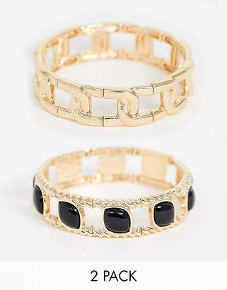 Asos Design DESIGN pack of 2 bracelets in chain and stone set design in gold tone