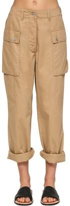 Loewe Wide Leg Cotton Canvas Cargo Pants