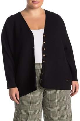 T Tahari Ottoman Rib Knit Cardigan (Plus Size)