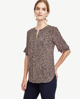 Ann Taylor Petite Spotted Ruffle Sleeve Top