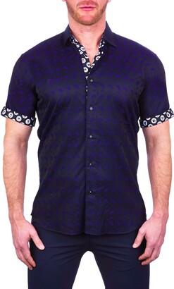Maceoo Galileo Flamingo Short Sleeve Button-Up Shirt