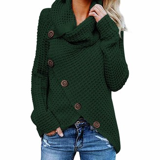 Yczx Womens Cozy Waffle Knitted Pullover Sweater Tops Winter Warm Cowl Neck Chunky Pullover Jumper Sweaters with Buttons Unique Design Solid Color Asymmetric Hem Knitted Jumpers XL