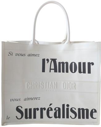 Christian Dior Book Tote White Leather Handbags
