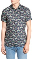 Scotch & Soda Men's Extra Slim Fit Print Linen Sport Shirt
