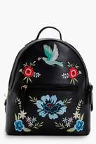 boohoo Sarah Floral Embroidered Rucksack